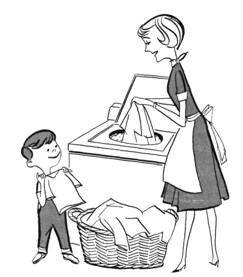Mother doing household chores clipart