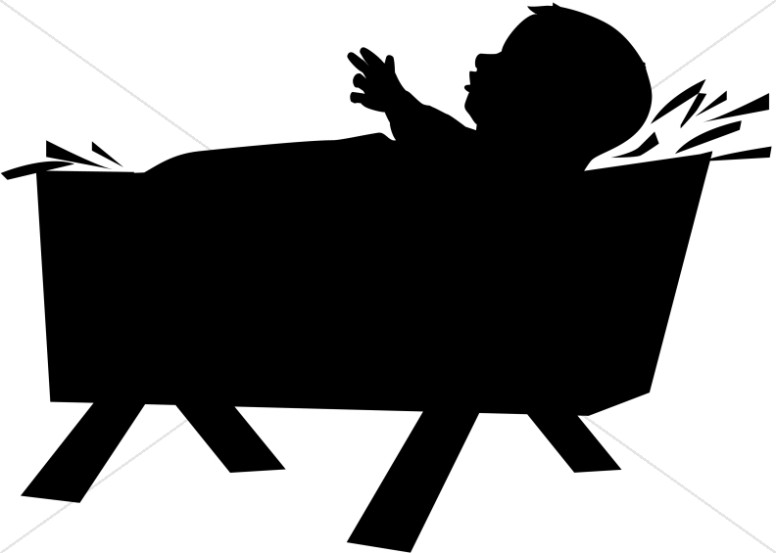 Nativity silhouette  free silhouette baby jesus born in a manger clipart