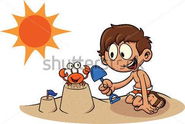 Sand castle kid building a sand vector all in single stock vector clip art
