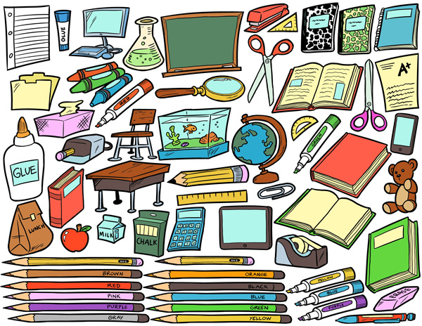 School supplies clip art pack tim