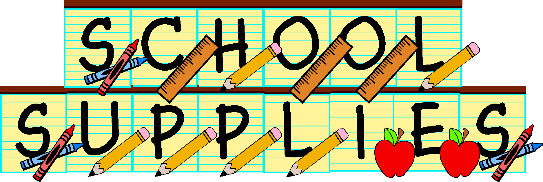 School supplies drive clipart