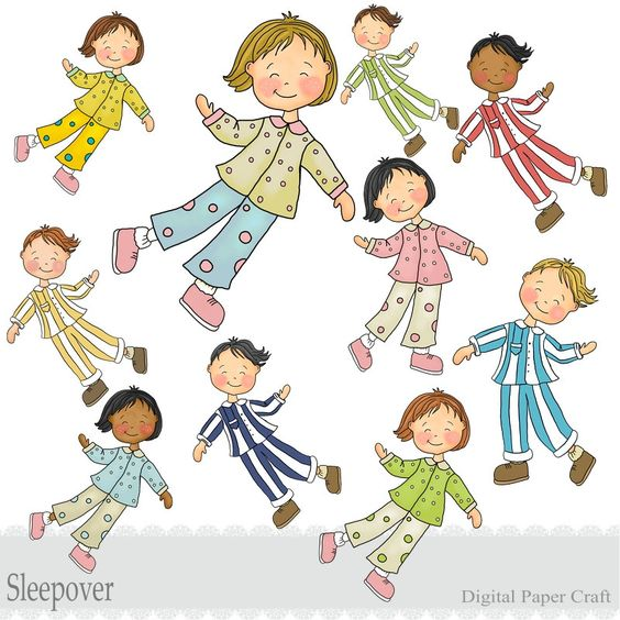 Sleepover boys and girls on clipart