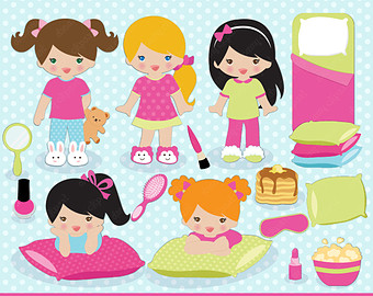 Sleepover pajama party pictures clip art