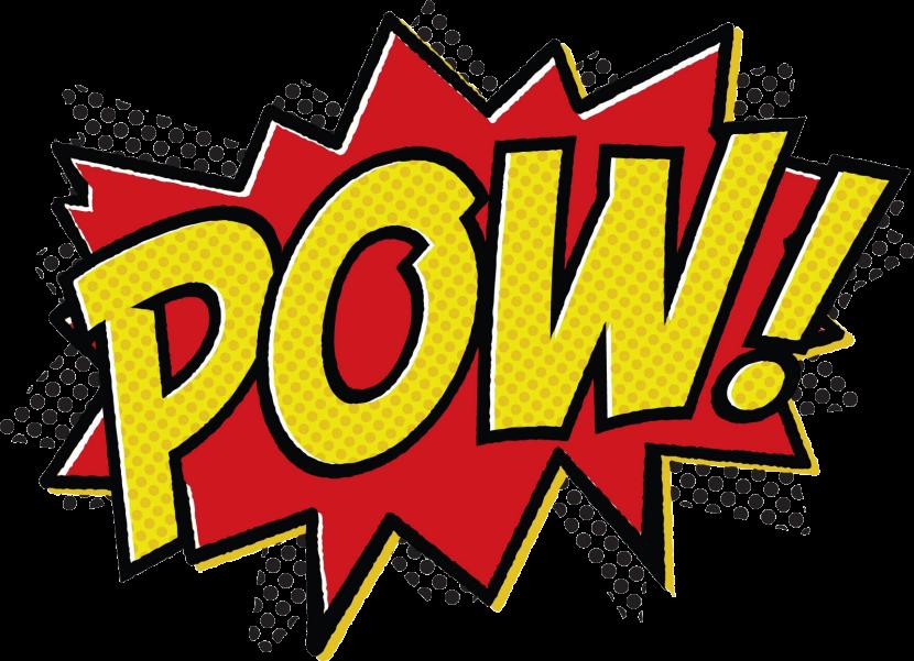 Superhero words clipart