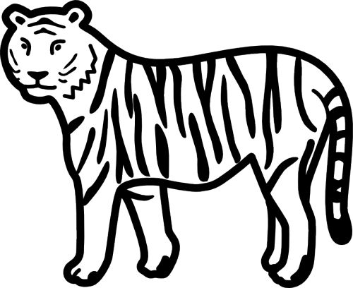 Tiger  black and white cute tiger clipart black and white free
