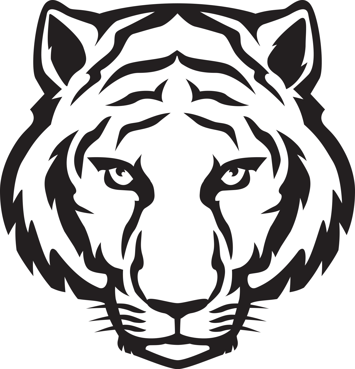 Tiger  black and white tiger head black and white clipart