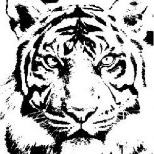 Tiger  black and white tiger totem clipart