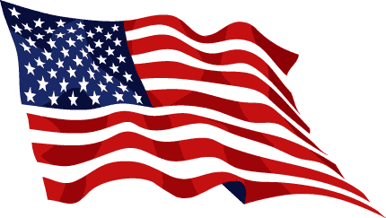 Wavy american flag antique clipart