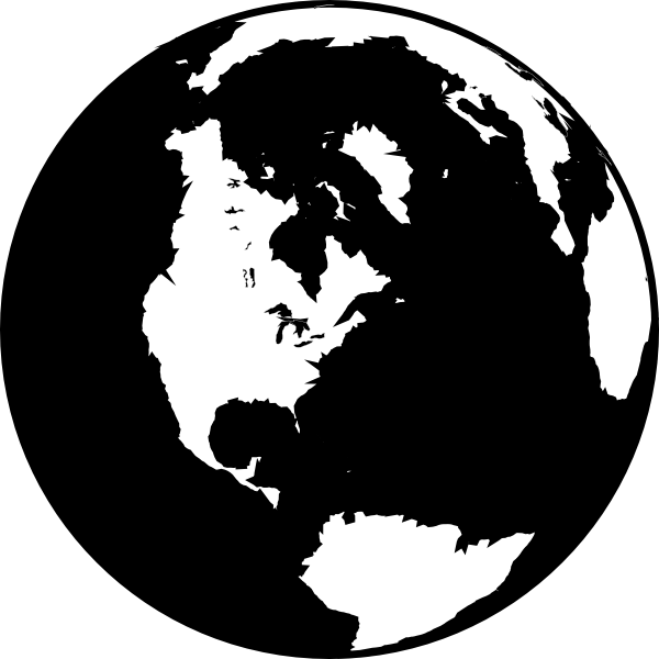 World globe clipart black and white images