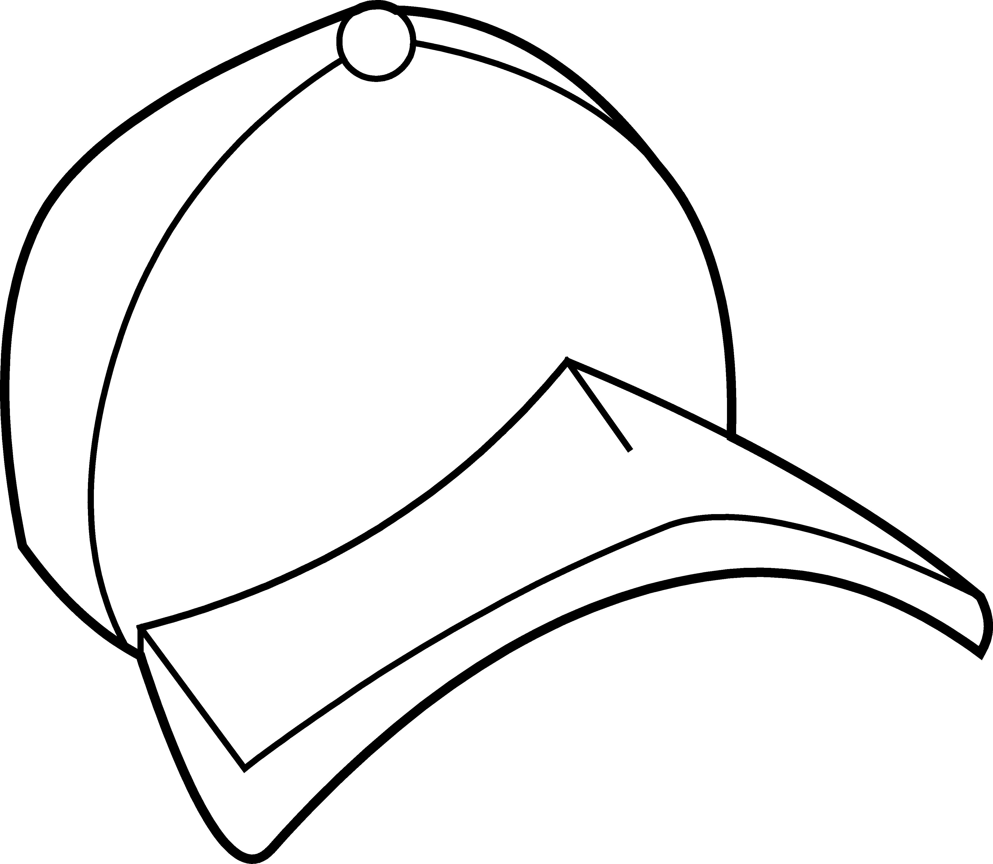 Baseball hat baseball cap coloring page free clip art 2