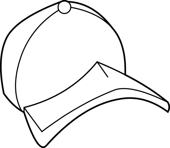 Baseball Hat Cap Coloring Page Free Clip Art