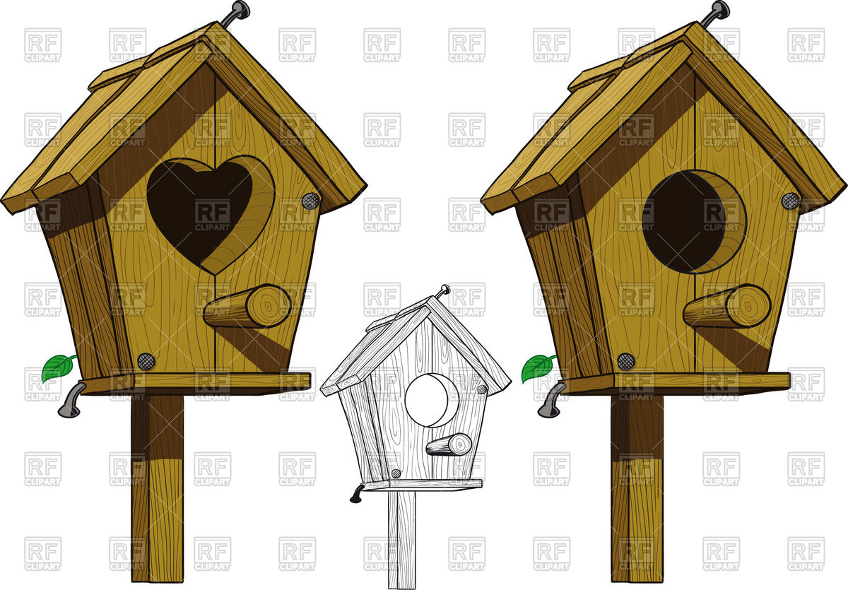 Birdhouse with round and heart shaped hole vector image clipart
