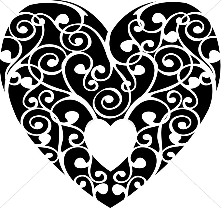 Black heart black and white swirl heart clipart 2