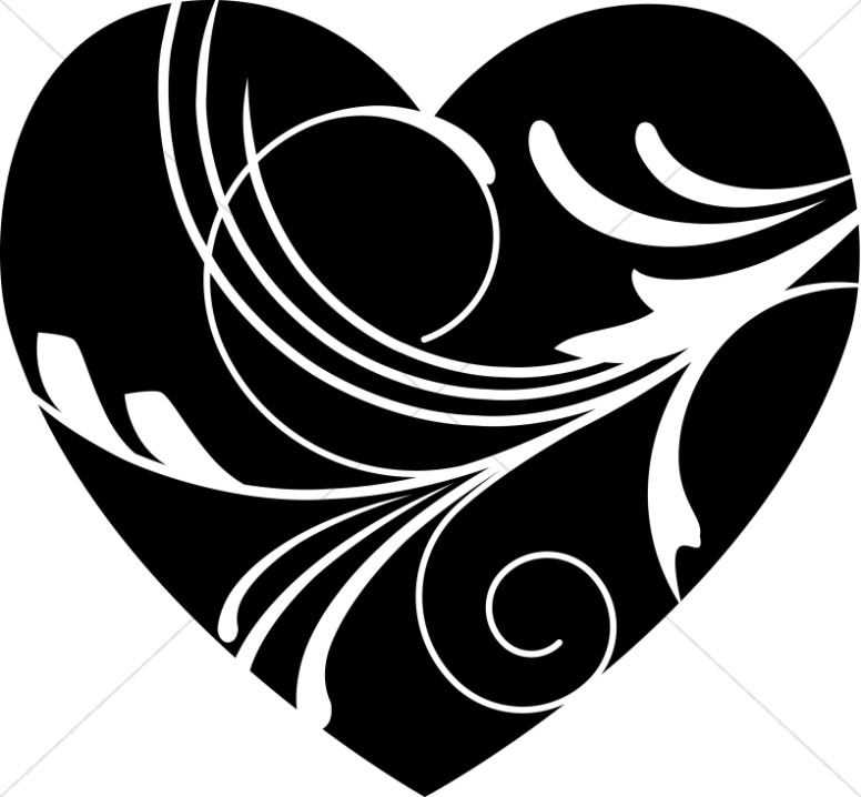 Black heart black and white swirl heart clipart