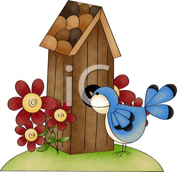 Bluebird looking into his birdhouse free clip art