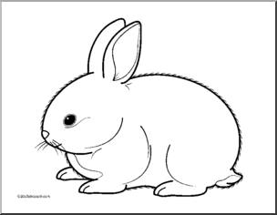 Bunny  black and white rabbit black and white clipart 3