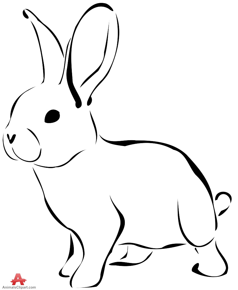 Bunny  black and white rabbit clipart outline in black and white free design