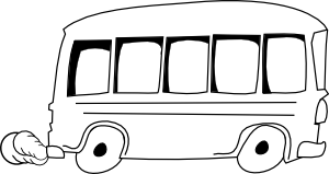Bus  black and white school bus outline clip art black