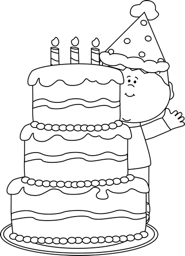 Cake  black and white black and white boy with birthday cake clip art