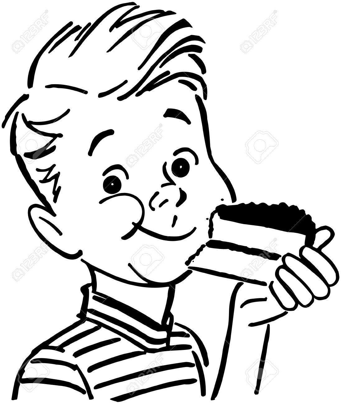 Cake  black and white eating cake clip art