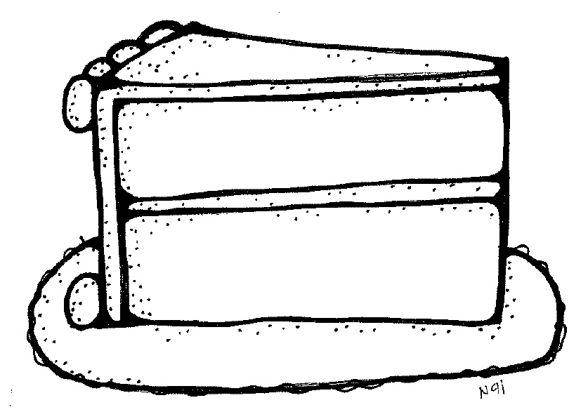 Cake  black and white slice of cake black and white clipart