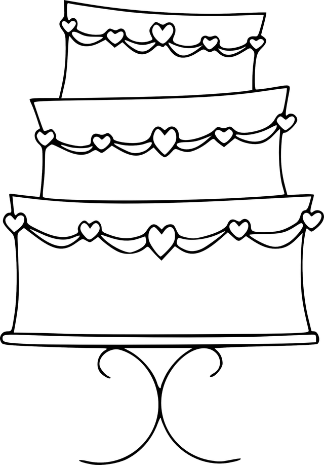 Cake black and white wedding cake clipart black and white ...