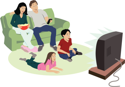 Clipart family watching tv clipartfest