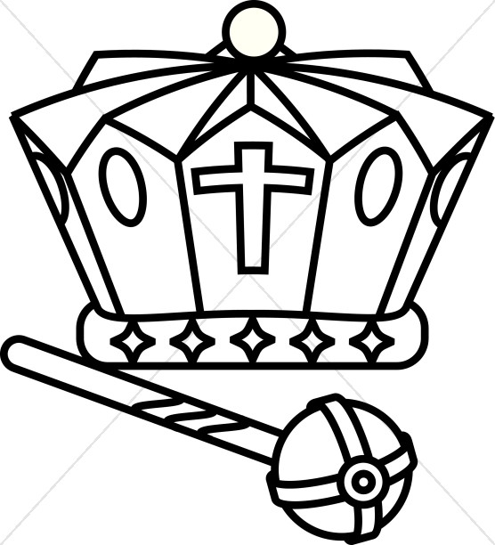 Crown  black and white black and white crown scepter clipart