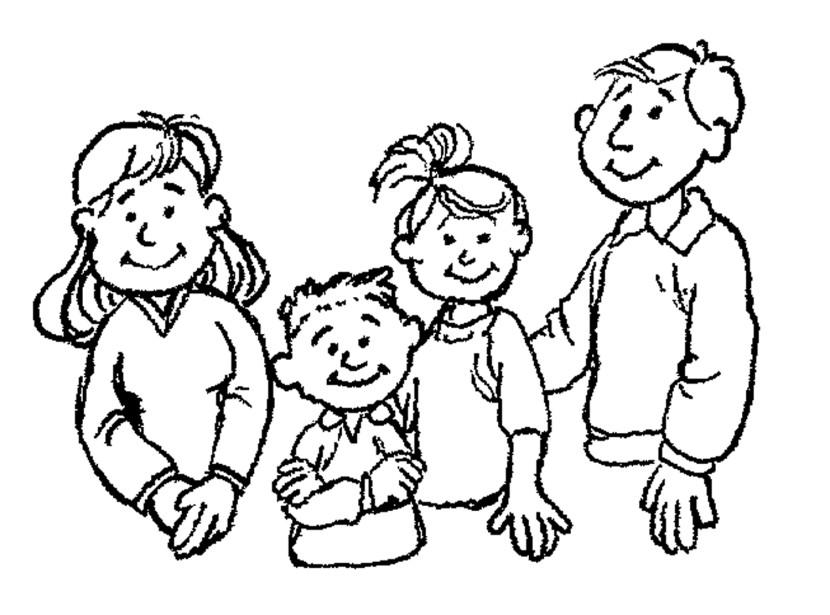Family  black and white black family clipart