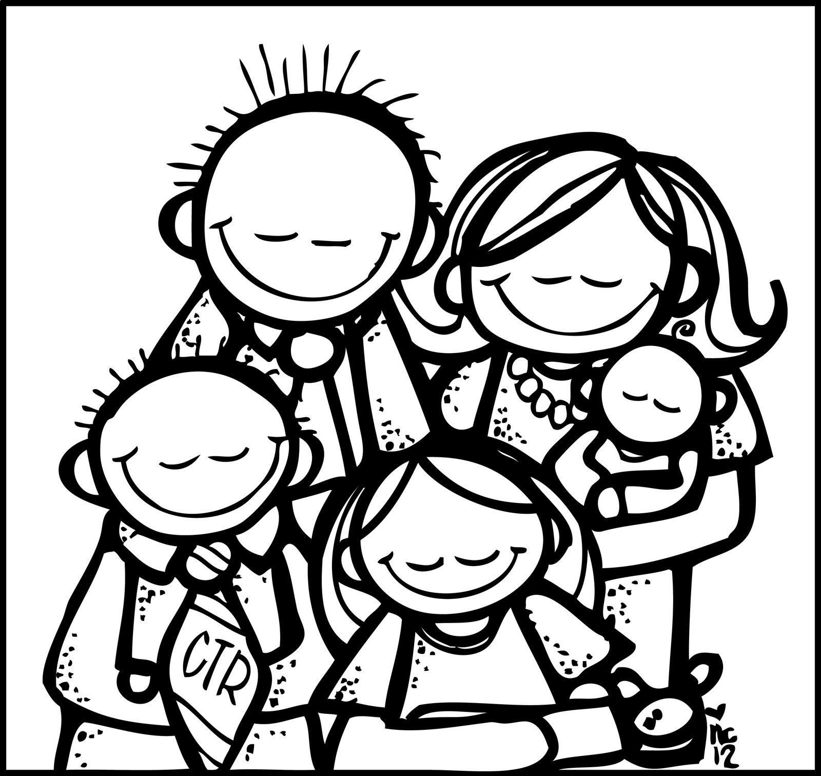 Family  black and white black family praying clipart