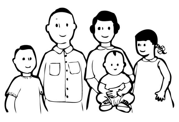 Family  black and white family black and white clipart
