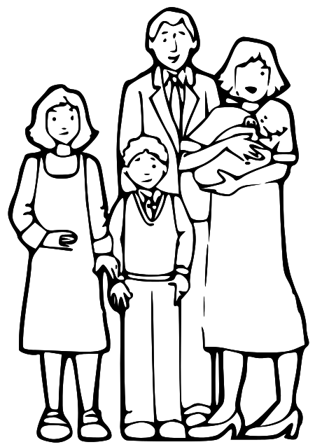 Family  black and white family clipart black and white