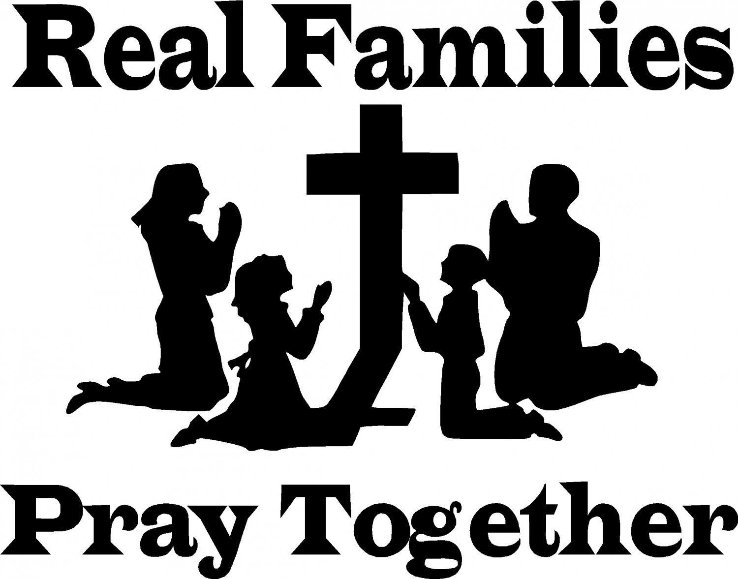 Family  black and white praying family clipart black and white clipartfest 3
