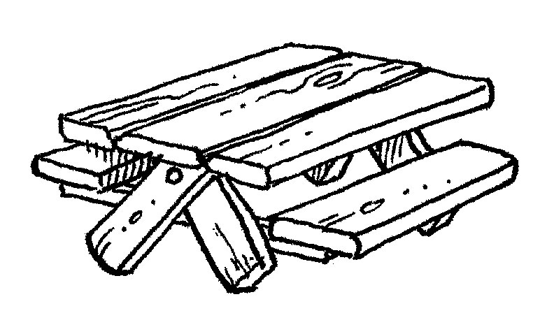 Family picnic table clipart
