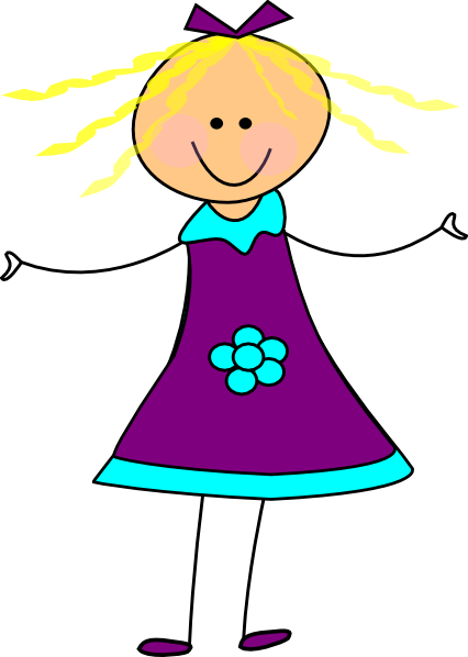 Getting dressed happy girl purple clip art at vector clip art