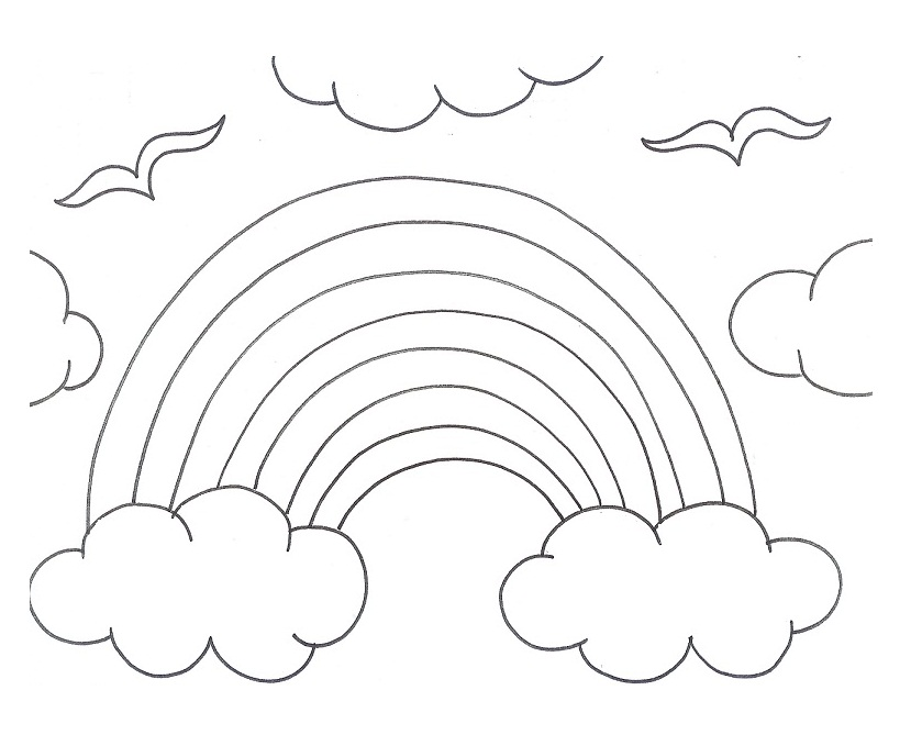 Rainbow  black and white black and white rainbow coloring page az pages clipart