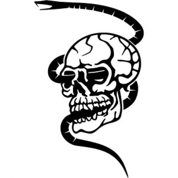 Snake  black and white skull with snake crossing in black and white clip art download