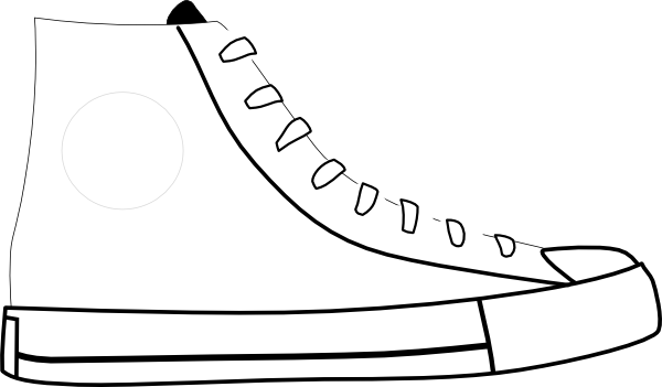 Tennis shoe clipart black and white 2
