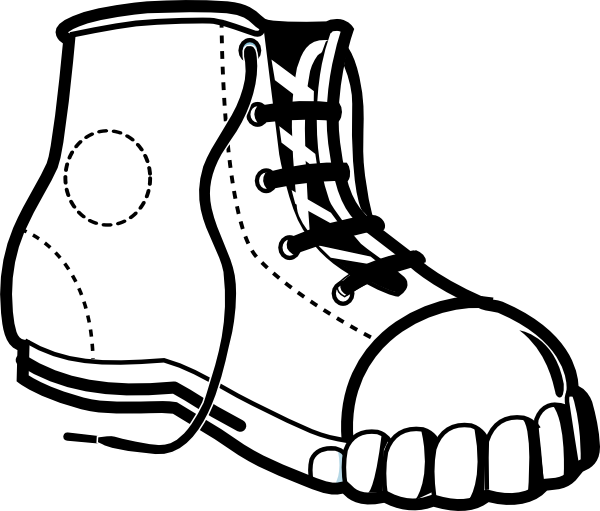 Tennis shoe clipart black and white 3