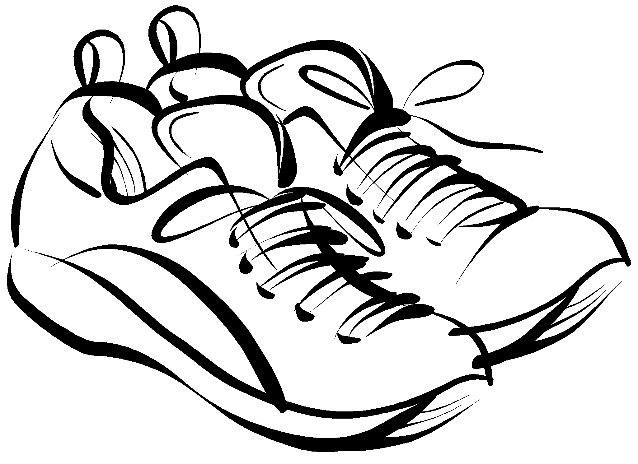 Tennis shoes clipart black and white free 4 2