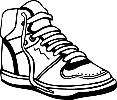 Tennis shoes clipart black and white free 9