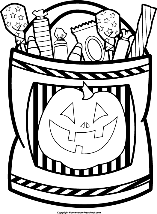 Trunk or treat trick or treat bag blank clip art pictures to pin on
