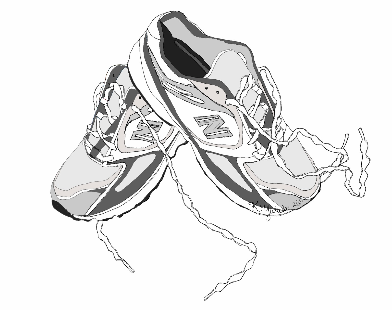 Walking tennis shoes clipart 3