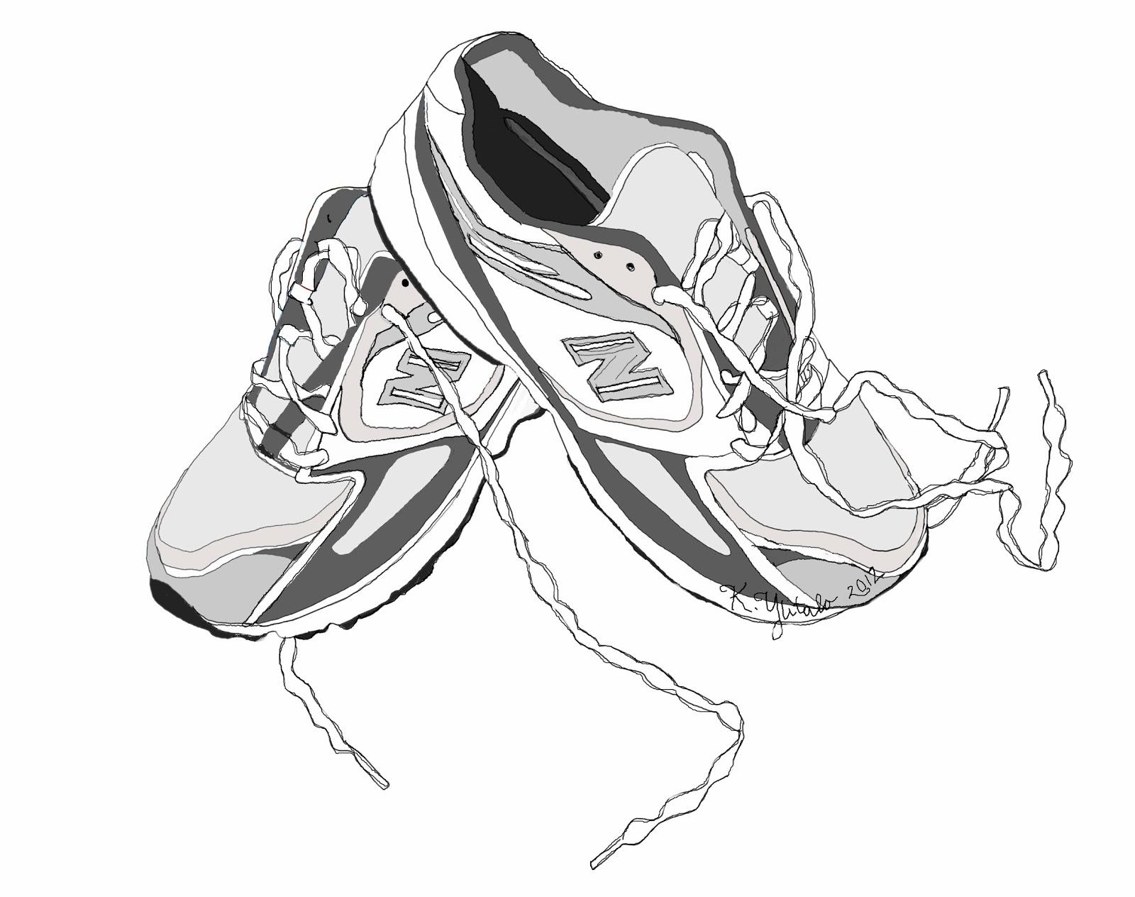 Walking tennis shoes clipart 3