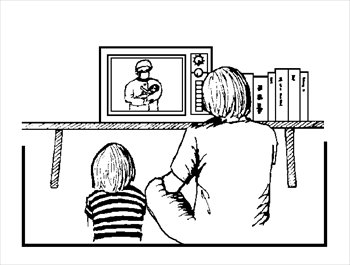 kids watching tv black and white. watching tv black and white clipart 2 kids