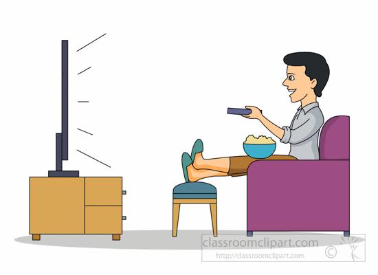 Watching tv clip art