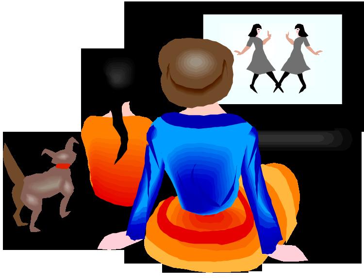 Women watching tv clipart 3