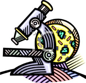 A cell behind a microscope clip art