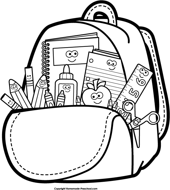 Backpack black and white clipart