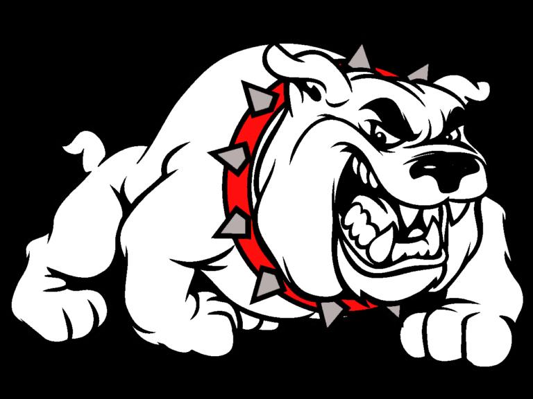 Bulldog head black and white